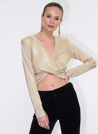 Tuba Ergin Crop Top Lurex Örme İsla Bluz Altın